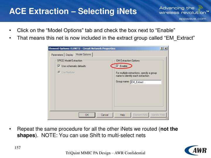 ACE Extraction – Selecting iNets