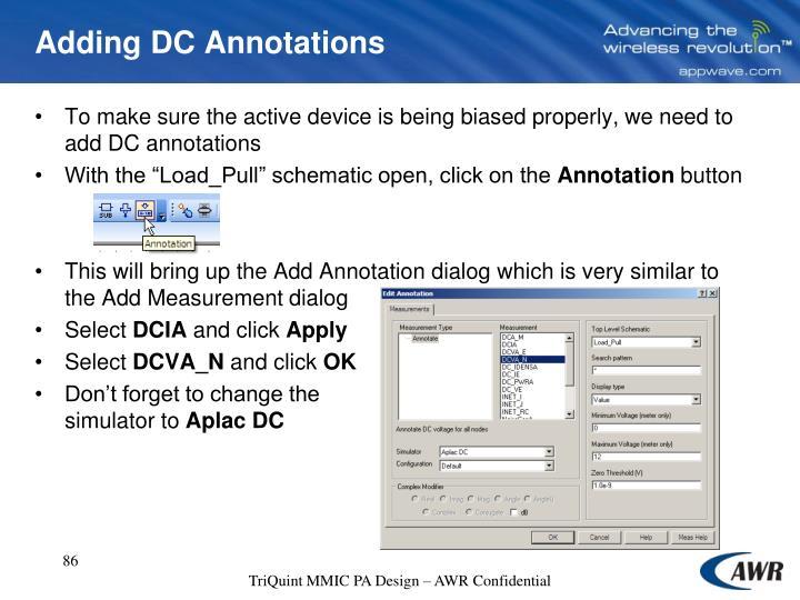 Adding DC Annotations