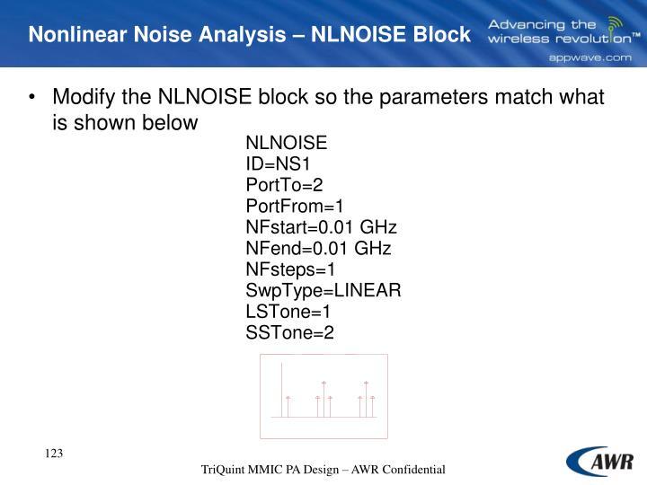 Nonlinear Noise Analysis – NLNOISE Block