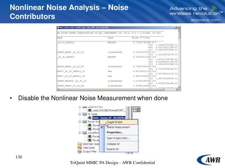 Nonlinear Noise Analysis – Noise Contributors