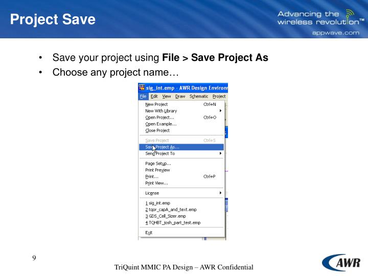 Project Save