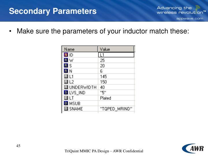 Secondary Parameters