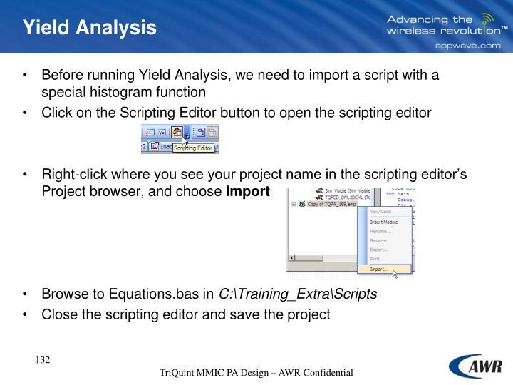 Yield Analysis