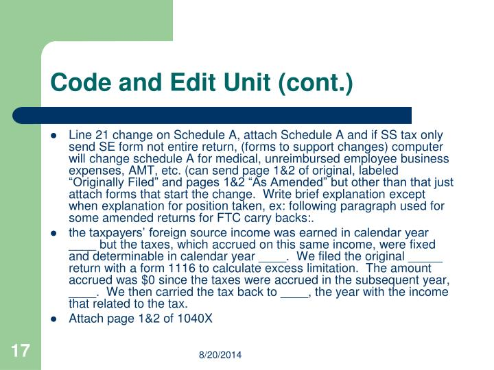 Code and Edit Unit (cont.)