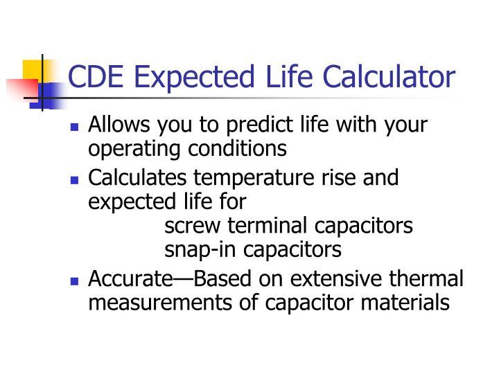 CDE Expected Life Calculator