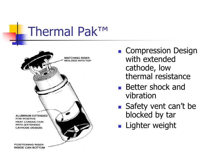 Compression Design with extended cathode, low thermal resistance