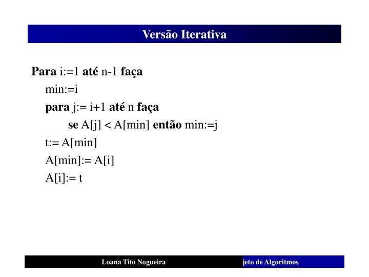 Versão Iterativa
