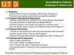 accreditation criteria evaluator s check list