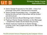 te senior design course improvement plan