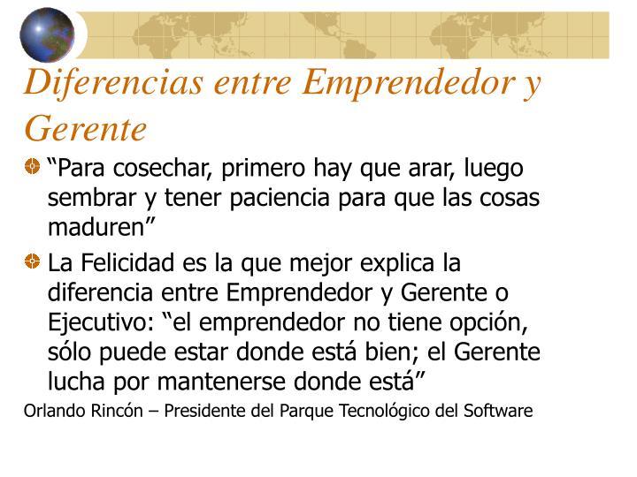 Diferencias entre Emprendedor y Gerente