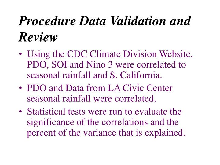 Procedure Data Validation and Review