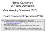 broad categories of peace operations