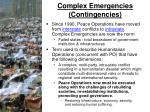 complex emergencies contingencies