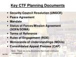 key ctf planning documents