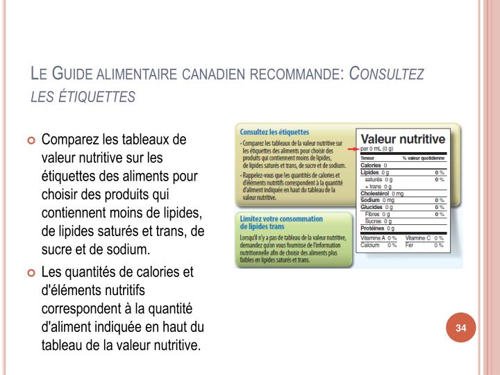 Le Guide alimentaire canadien recommande: