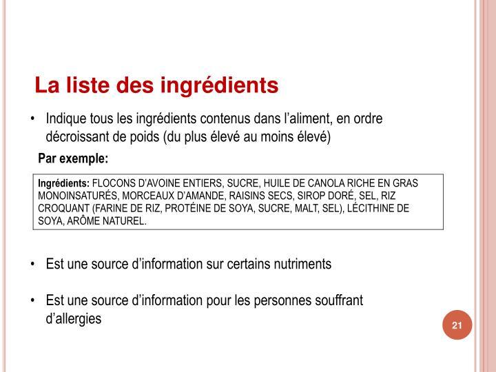 La liste des ingrédients