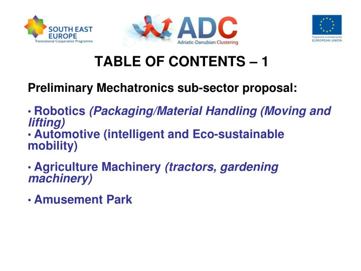 TABLE OF CONTENTS – 1