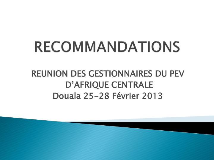 recommandations n.