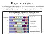 respect des r gions