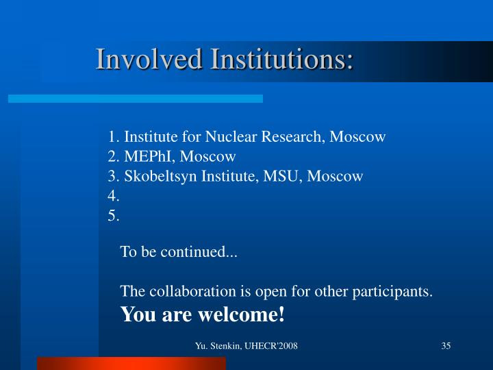 Involved Institutions:
