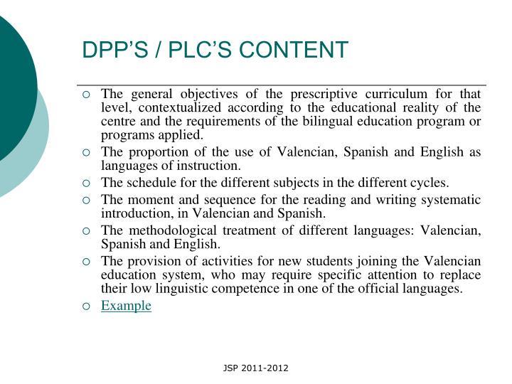 DPP'S / PLC'S CONTENT