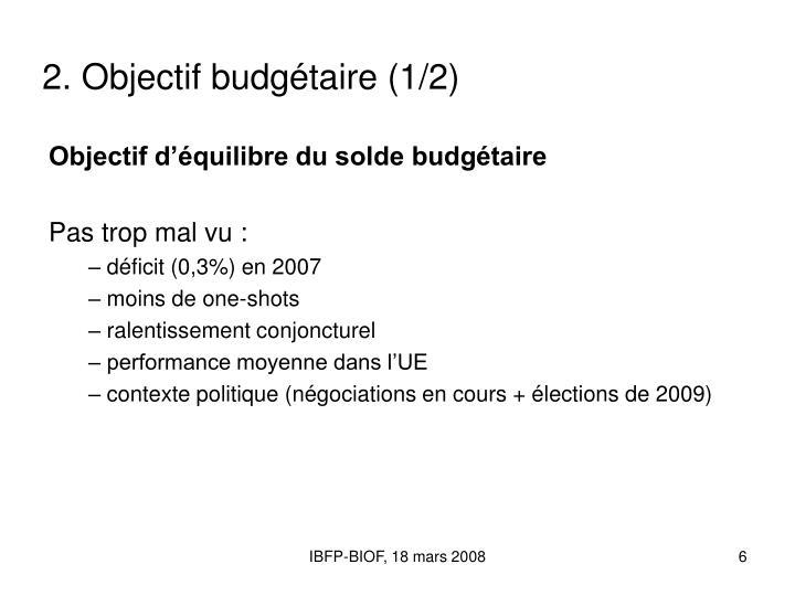 2. Objectif budgétaire (1/2)