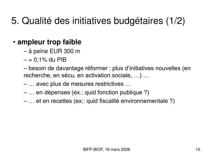 5. Qualité des initiatives budgétaires (1/2)