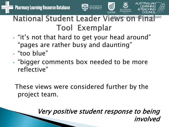 National Student Leader Views on Final Tool  Exemplar