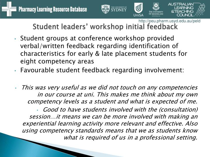 Student leaders' workshop initial feedback