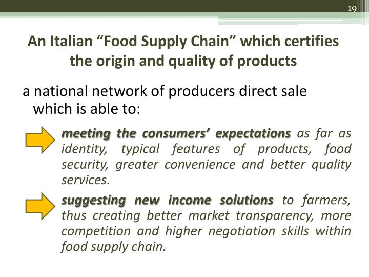 "An Italian ""Food Supply Chain"" which certifies the origin and quality of products"