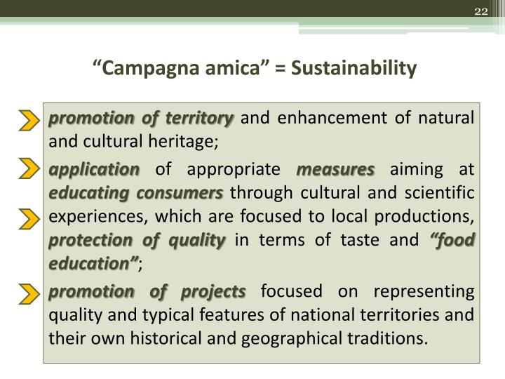 """Campagna amica"" = Sustainability"