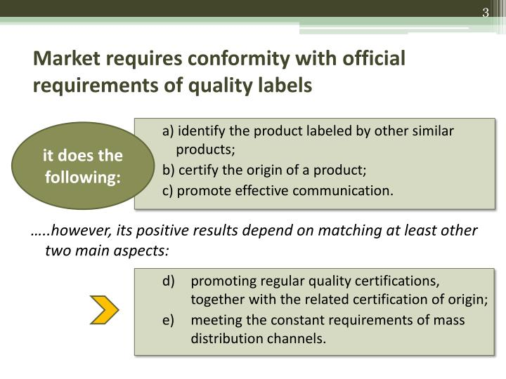 Market requires conformity with official requirements of quality labels