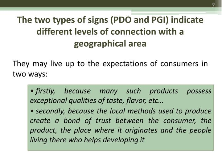 The two types of signs (PDO and PGI) indicate