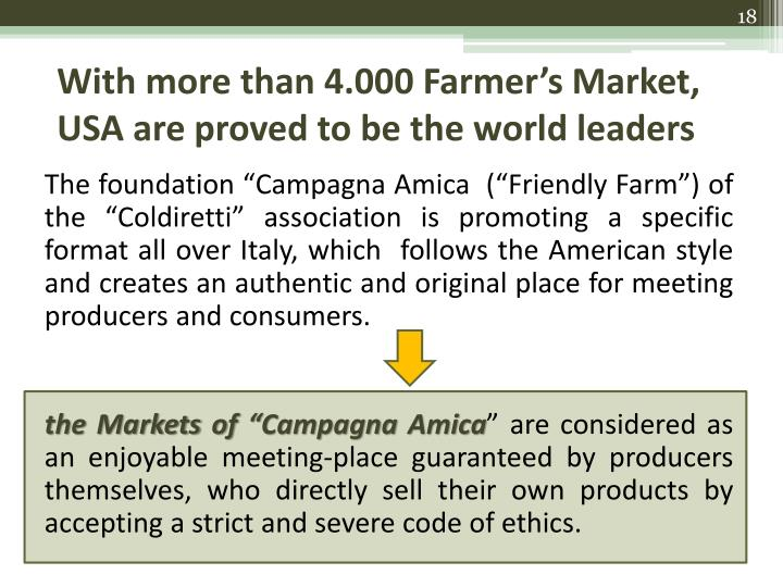 With more than 4.000 Farmer's Market, USA are proved to be the world leaders