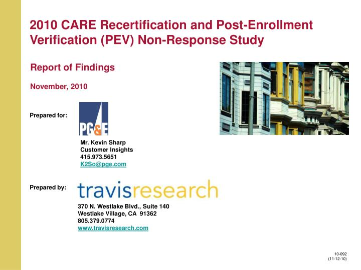 2010 care recertification and post enrollment verification pev non response study