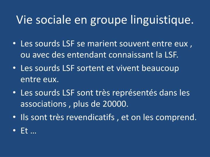 Vie sociale en groupe linguistique.