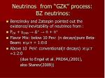 neutrinos from gzk process bz neutrinos