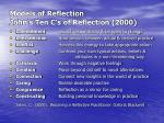 models of reflection john s ten c s of reflection 2000