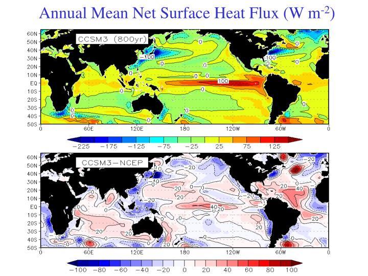 Annual Mean Net Surface Heat Flux (W m