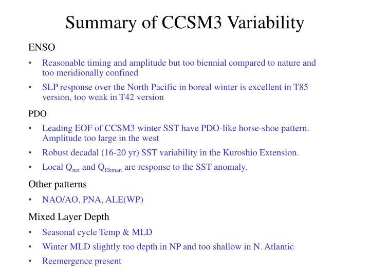Summary of CCSM3 Variability