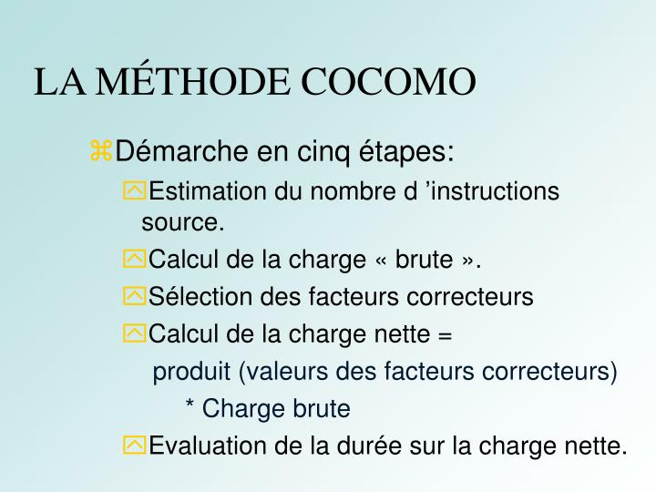 LA MÉTHODE COCOMO