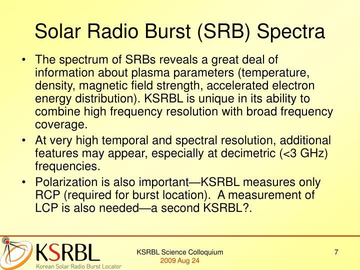 Solar Radio Burst (SRB) Spectra