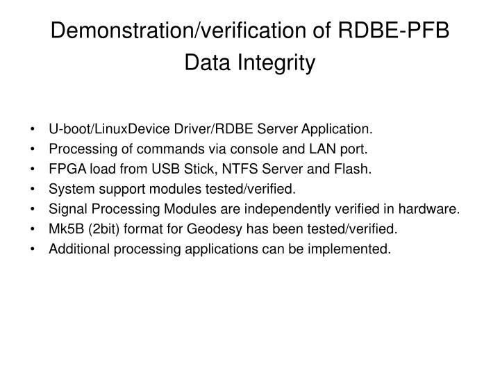 Demonstration/verification of RDBE-PFB Data Integrity