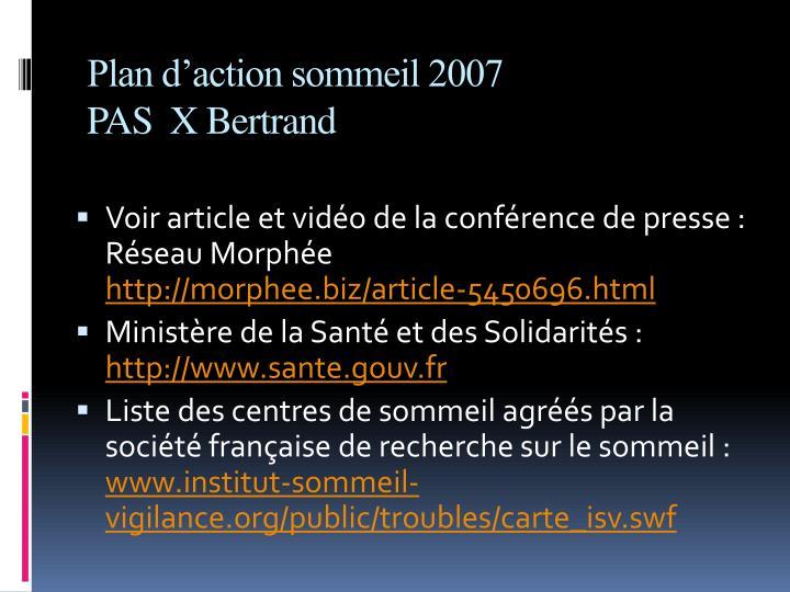 Plan d'action sommeil 2007