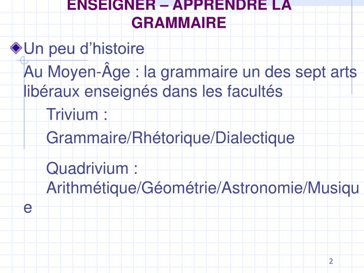 Enseigner apprendre la grammaire