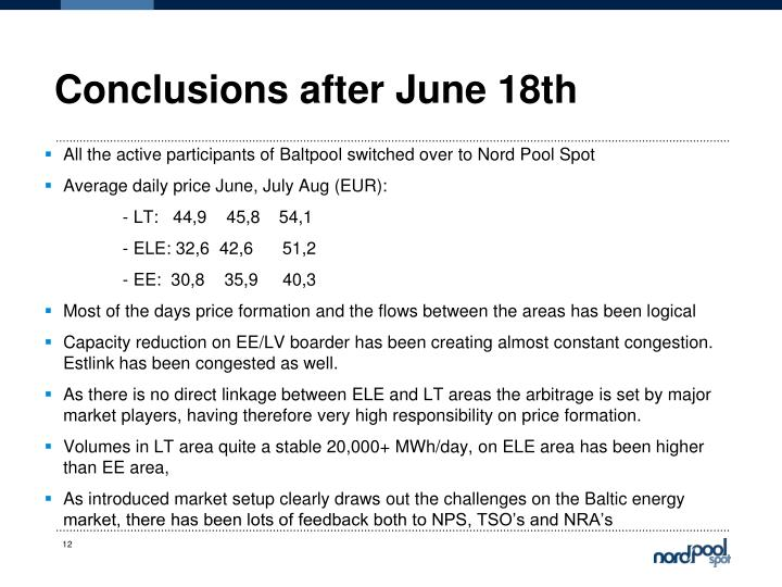 Conclusions after June 18th