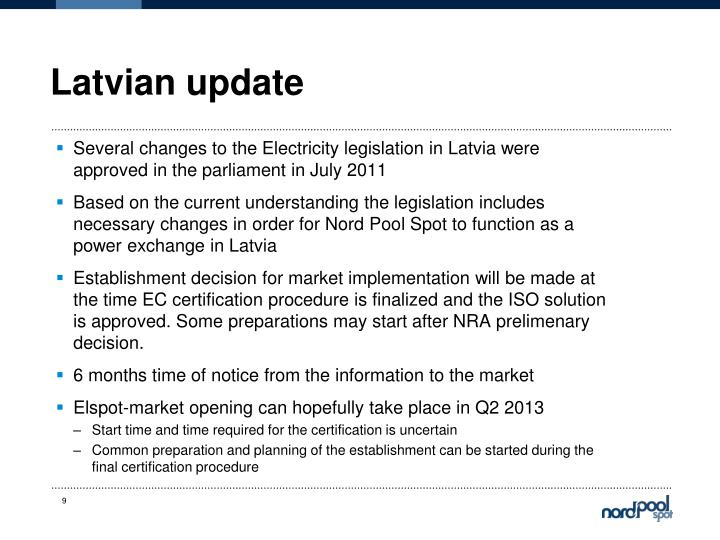 Latvian update