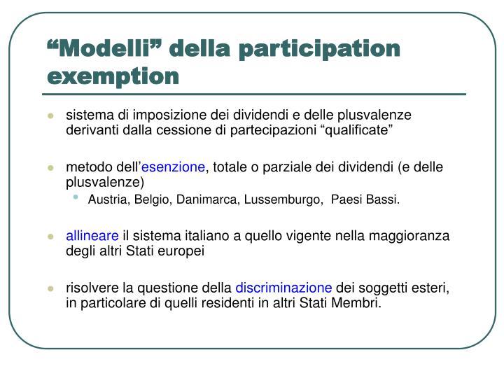 modelli della participation exemption n.