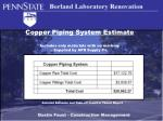 copper piping system estimate includes only materials with no mark up supplied by apr supply co