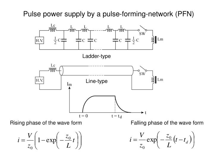 Pulse power supply by a pulse-forming-network (PFN)